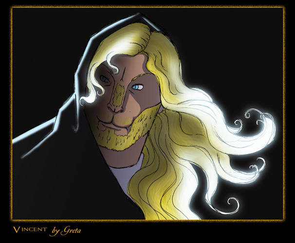 color drawing by Greta of cloaked Vincent with hood mostly up and hair flowing to the right