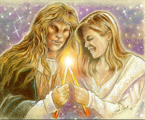color drawing by Sonia of Vincent and Catherine passing the flame from one candle to another
